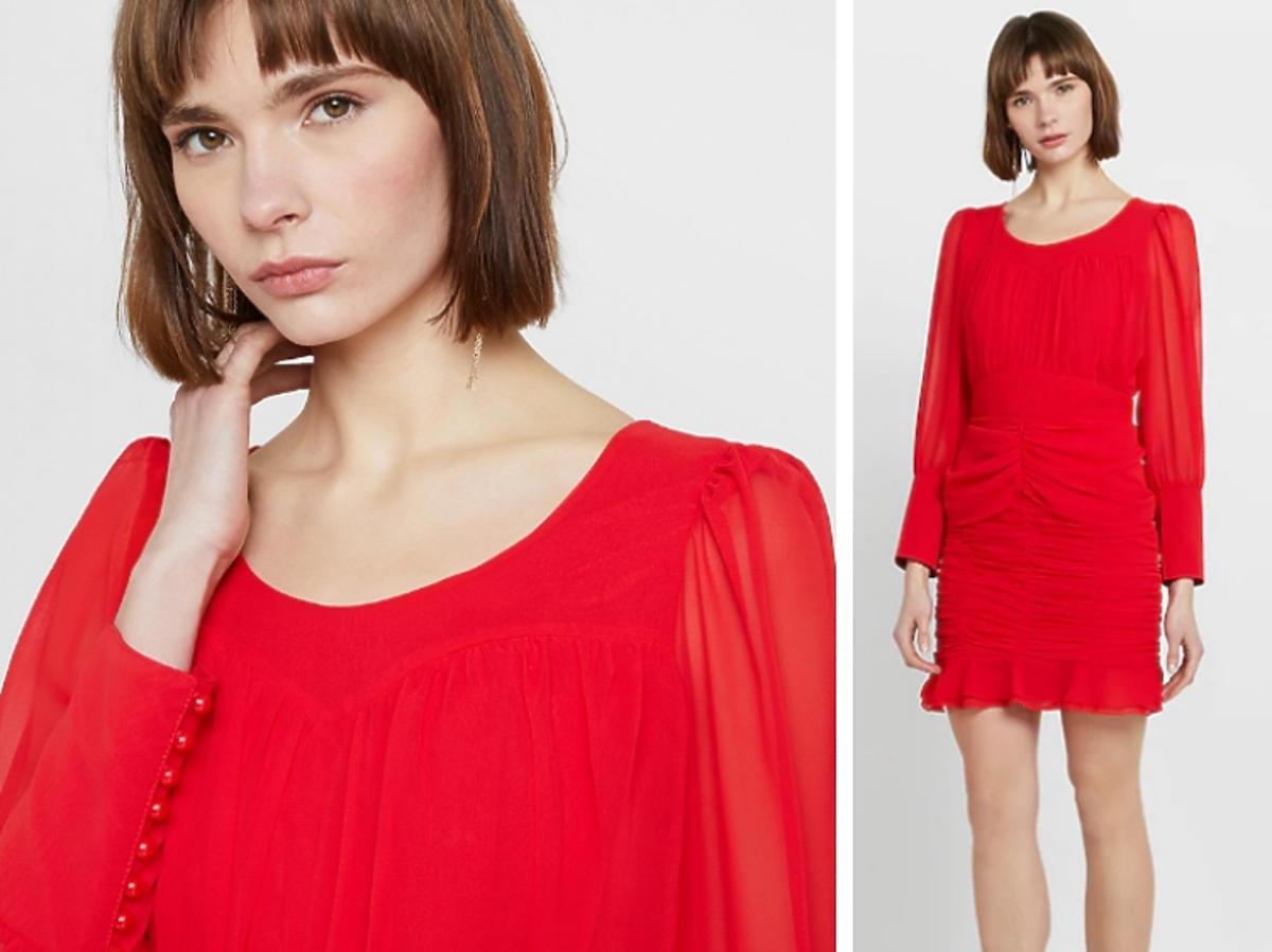 sukienka krótka retro Zalando czerwona
