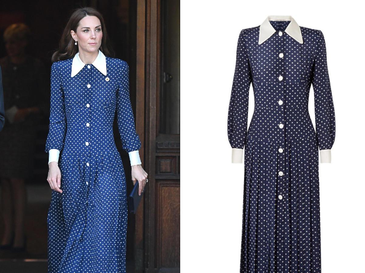 sukienka księżnej Kate w grochy