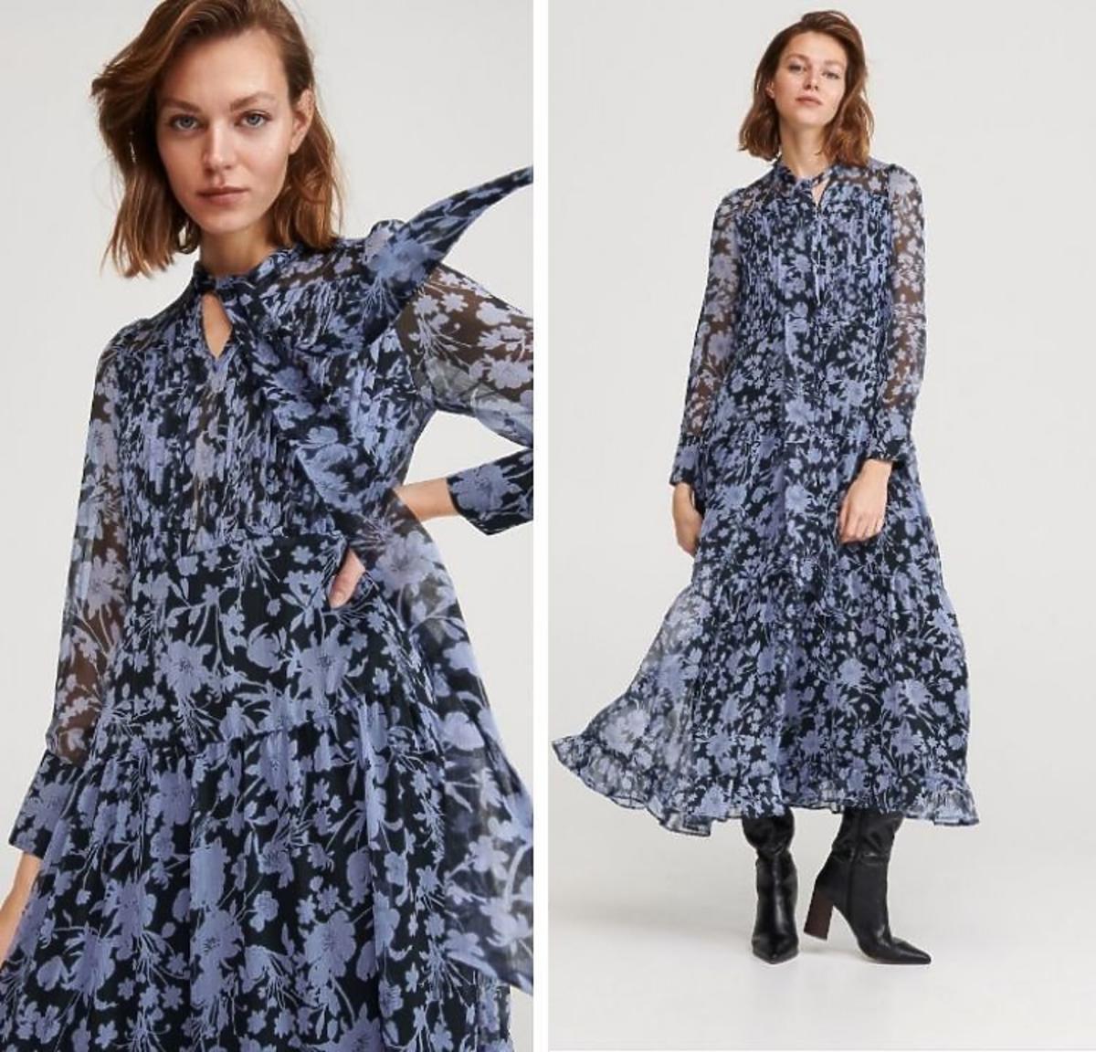 sukienka maxi w kwiaty Reserved wyprzedaż