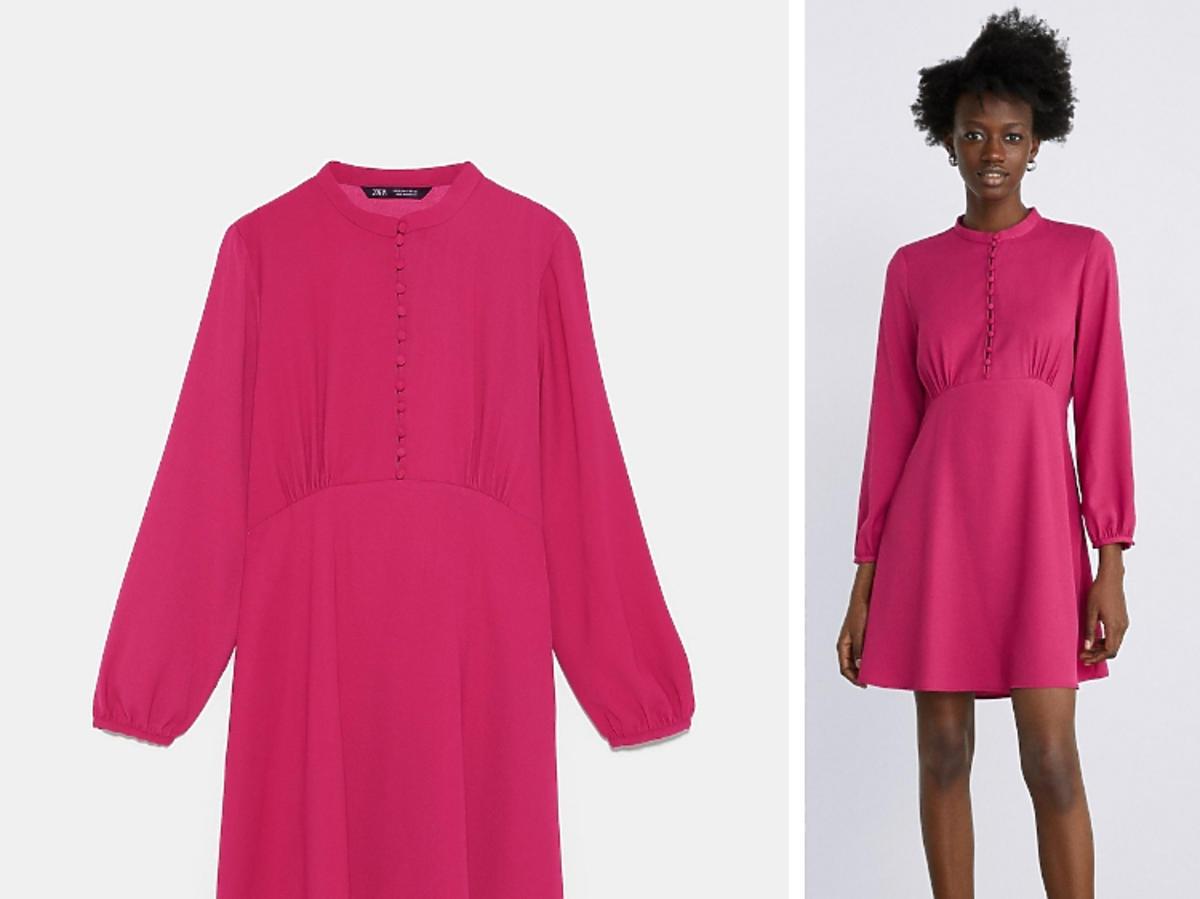 sukienka na guziki różowa Zara
