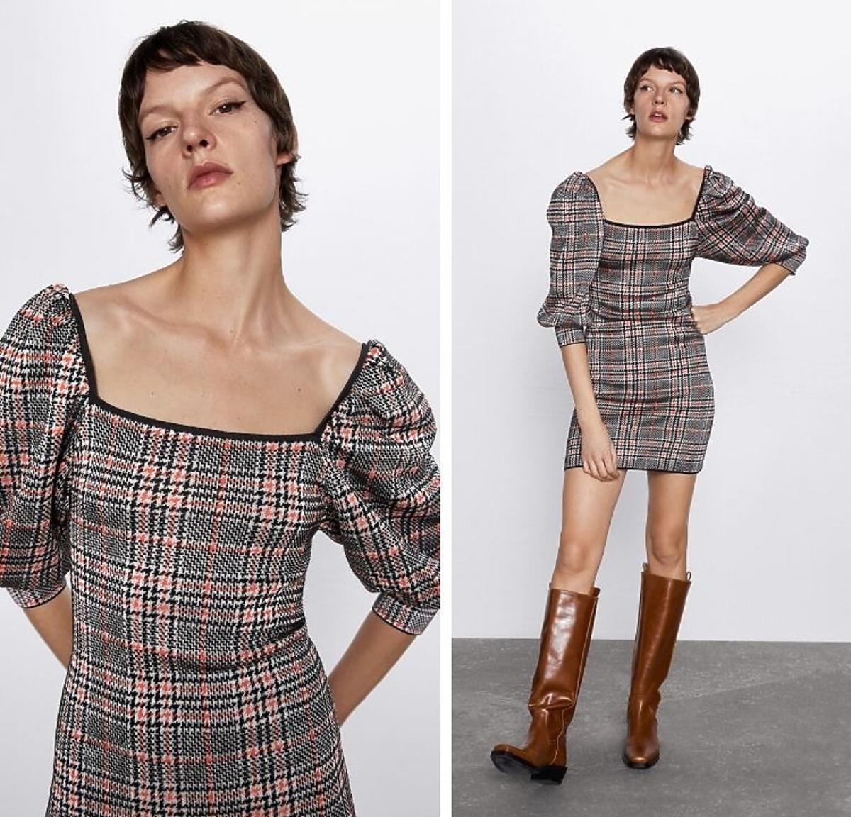 sukienka w kratkęz bufkami Zara