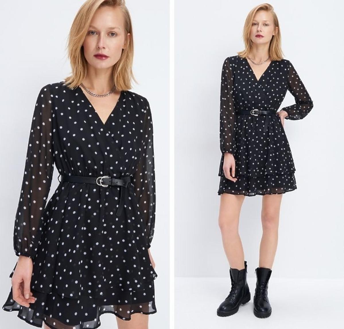Sukienka w kropki na wiosnę Mohito cena 160 zł