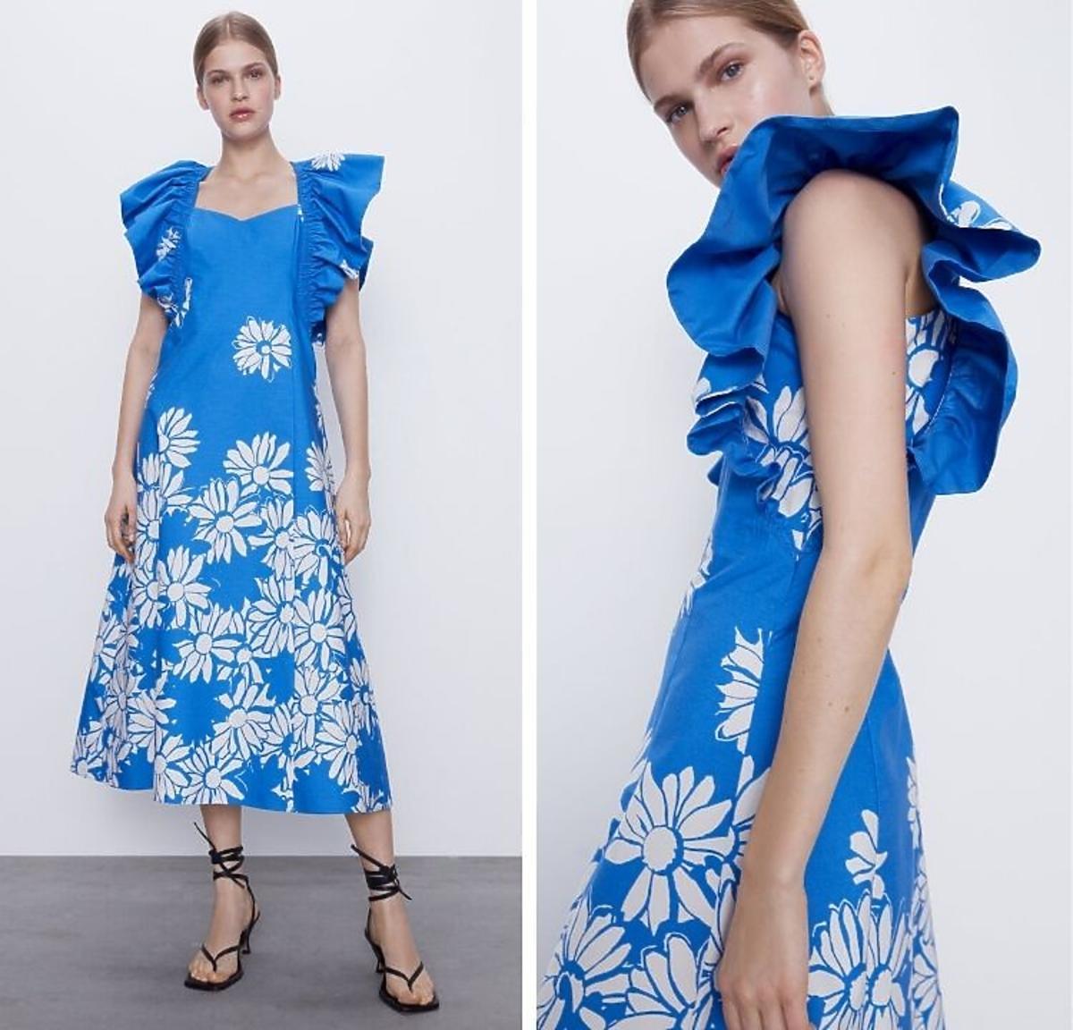 Sukienka w kwiaty z falbanami z wyprzedaży Zara