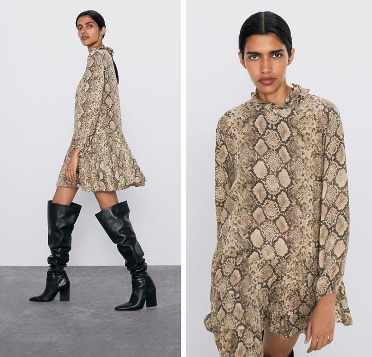 Sukienka w wężowy wzór Zara