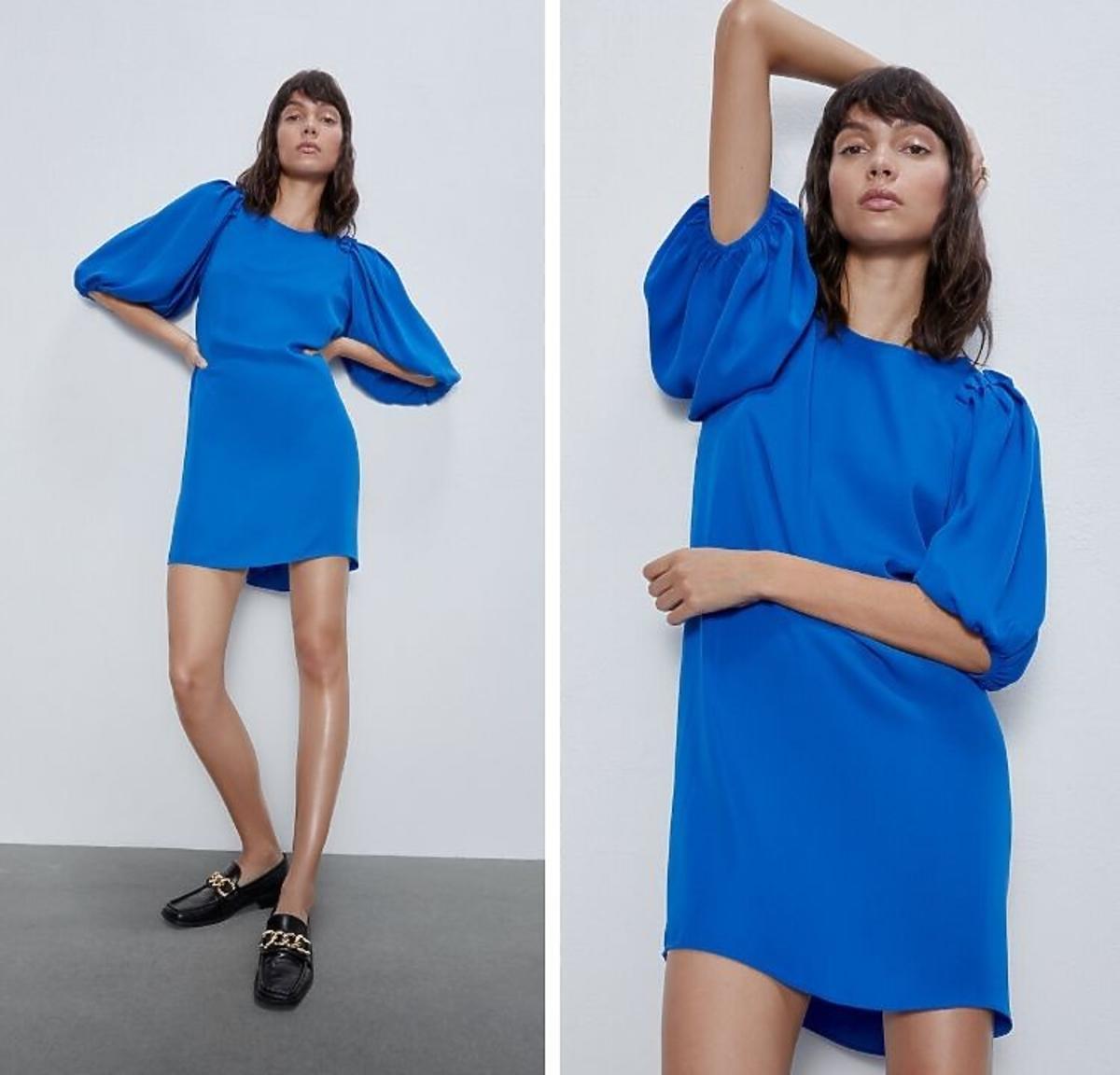 Sukienka z bufkami w kolorze niebieskim Zara
