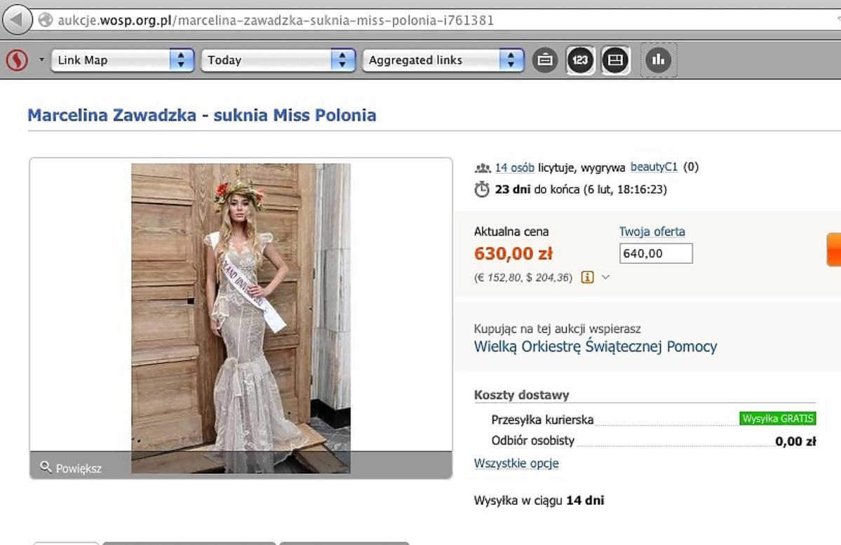 Suknia Miss Polonia na Allegro
