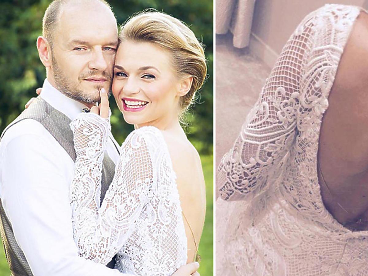 Suknia ślubna Emilii Komarnickiej projektu Violi Piekut