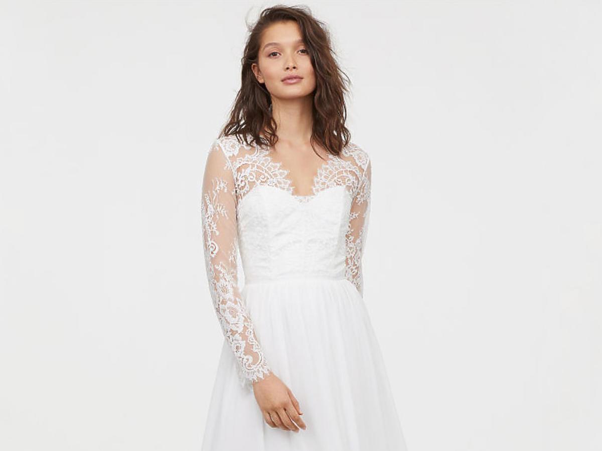 suknia ślubna z H&M z koronką
