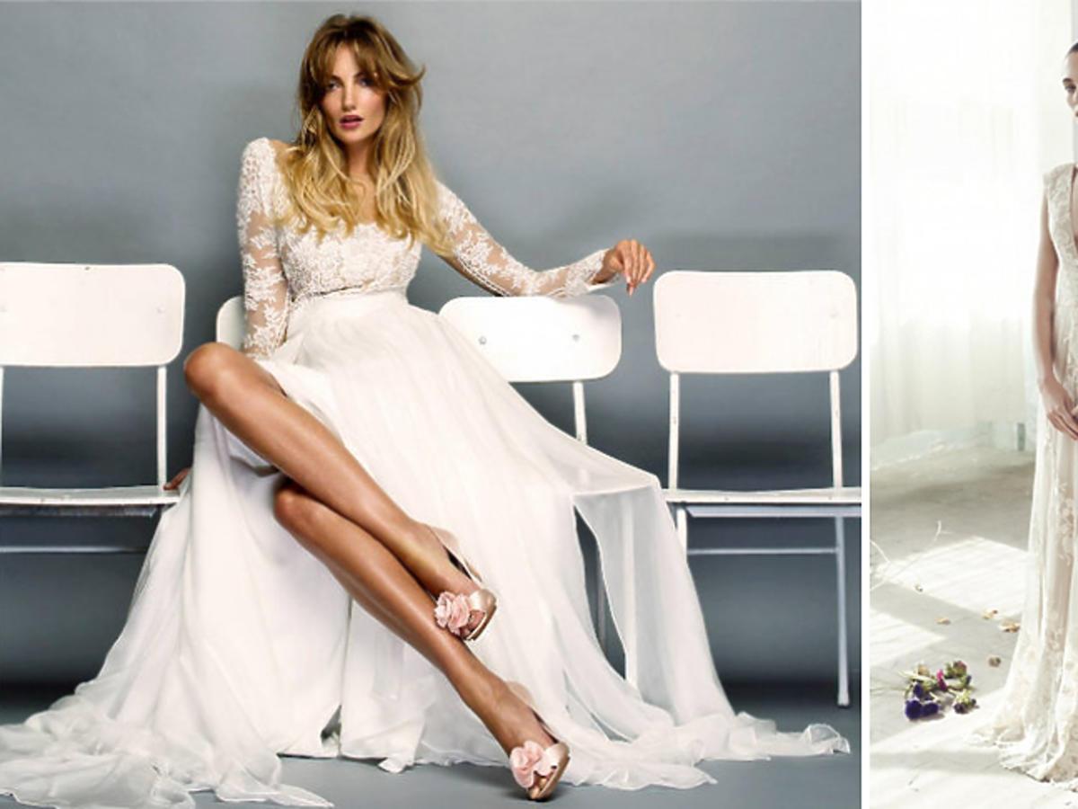 Suknie śubne dwie na jednym zdjęciu