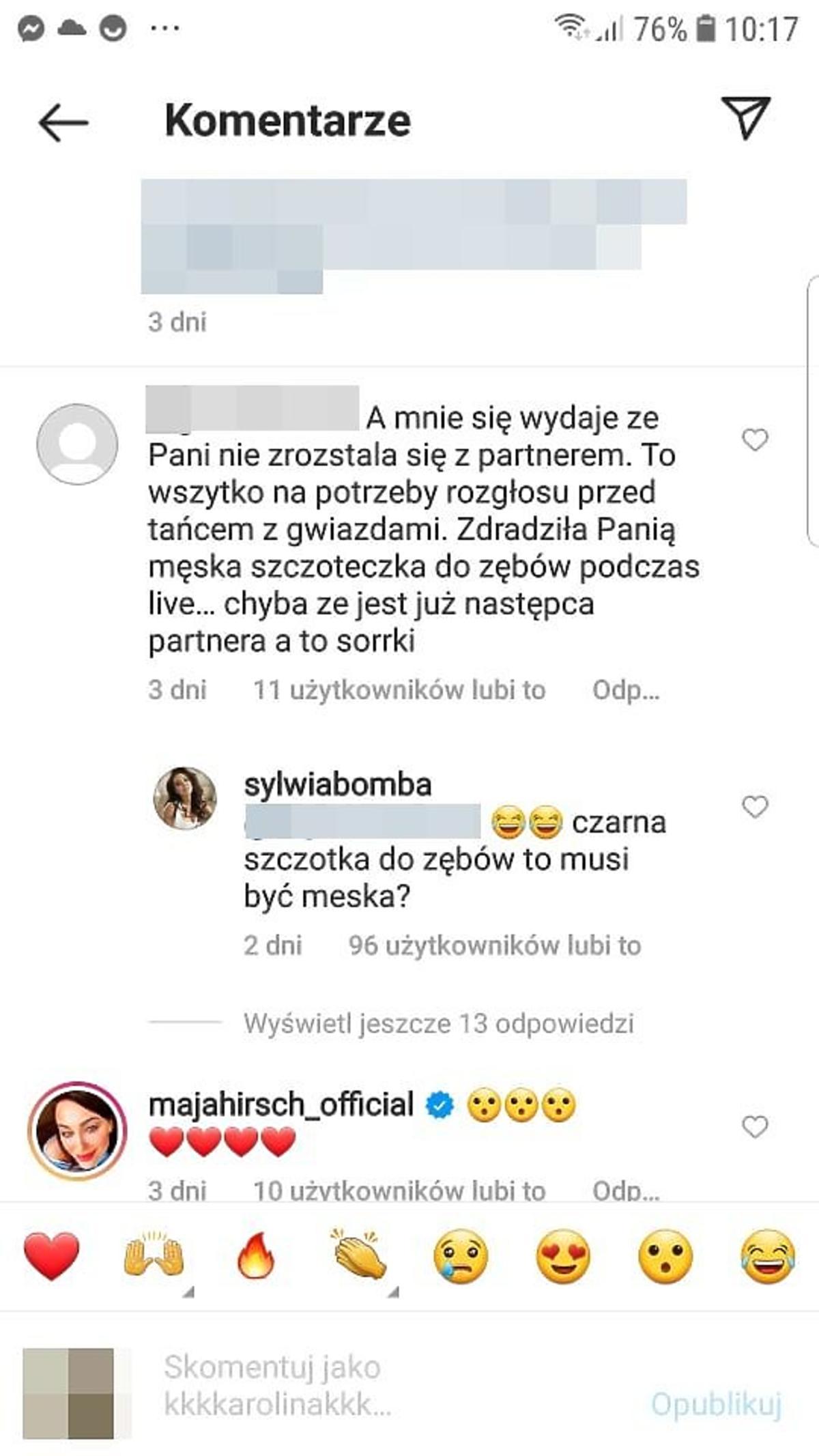 Sylwia Bomba odpowiada na komentarz fanki