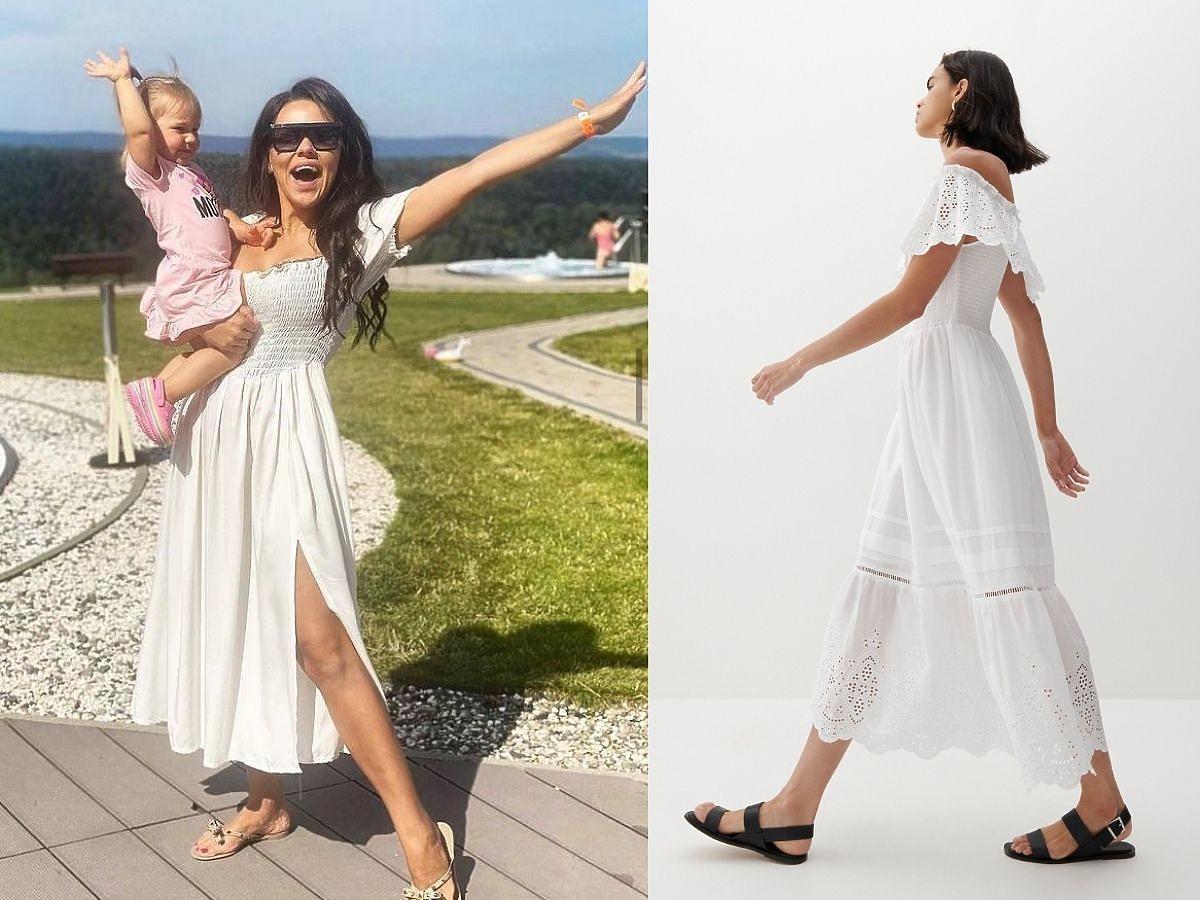 Sylwia Bomba w białej sukience maxi w okularach z córką.