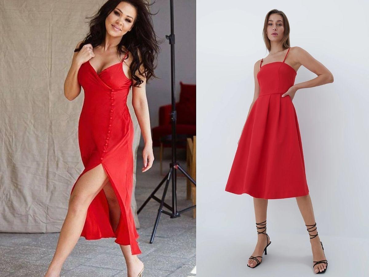 Sylwia Bomba w czerwonej sukience midi na ramiączkach.