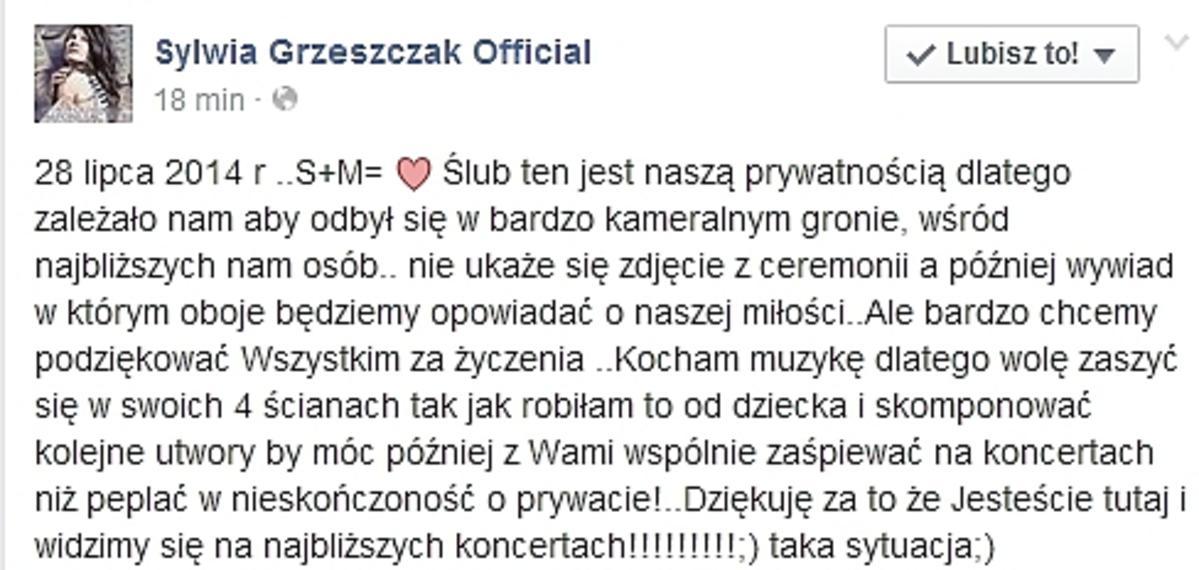 Sylwia Grzeszczak i Liber wzięli ślub
