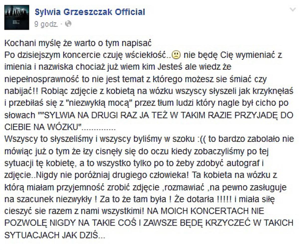 Sylwia Grzeszczak wściekła na swoją fankę