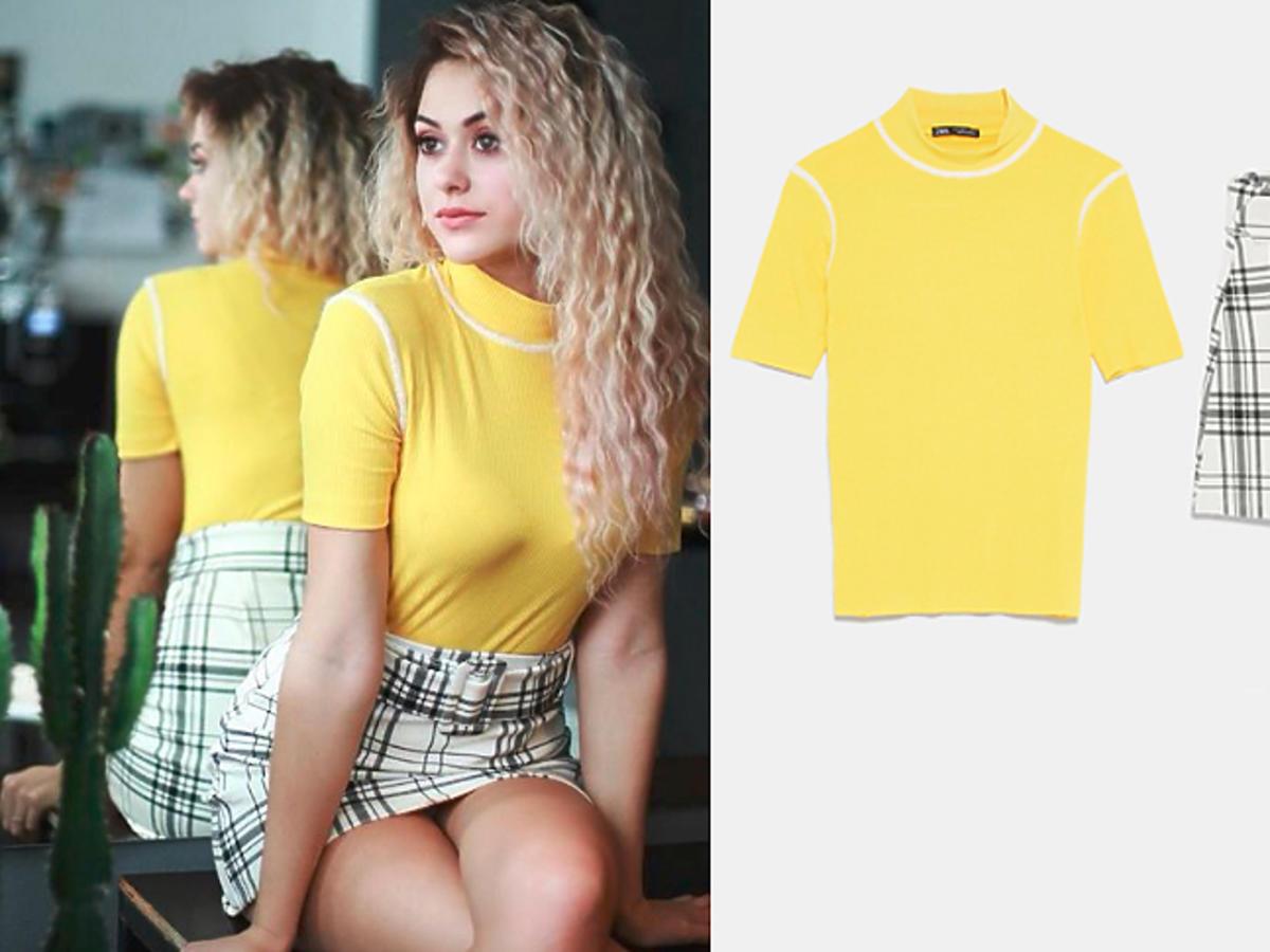 Sylwia Przybysz w spódnicy i koszulce z Zary