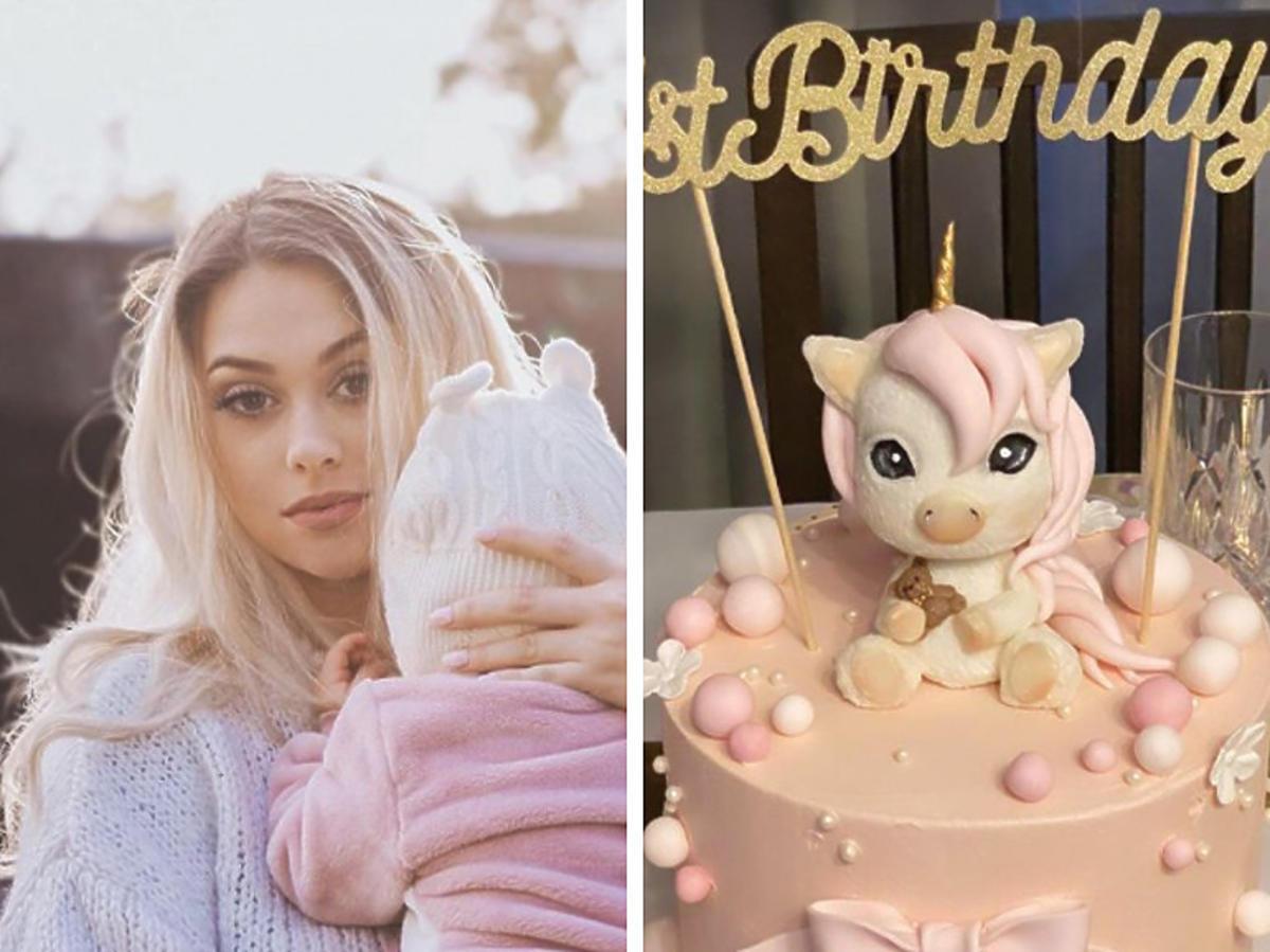 Sylwia Przybysz z córką, obok urodzinowy tort