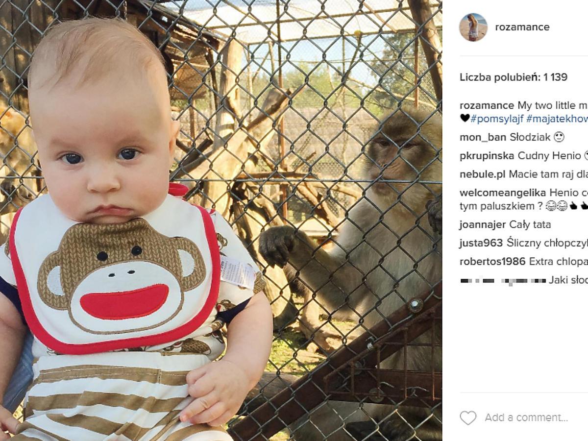 Synek Rozalii Mancewicz z małpką