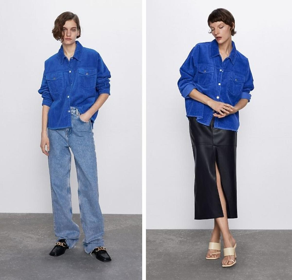 Sztruksowa niebieska kurtka Zara