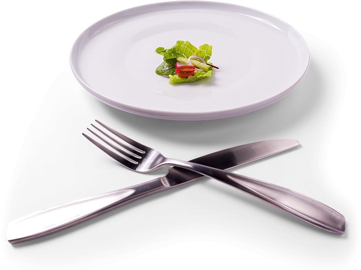 talerz i dwa skrzyżowane widelce