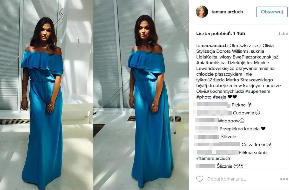 Tamara Arciuch w niebieskiej sukience