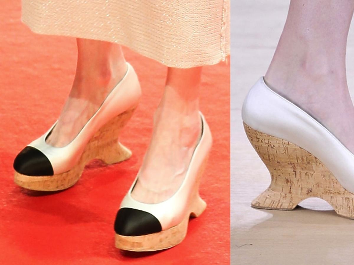 Tilda Swinton w butach na koturnie