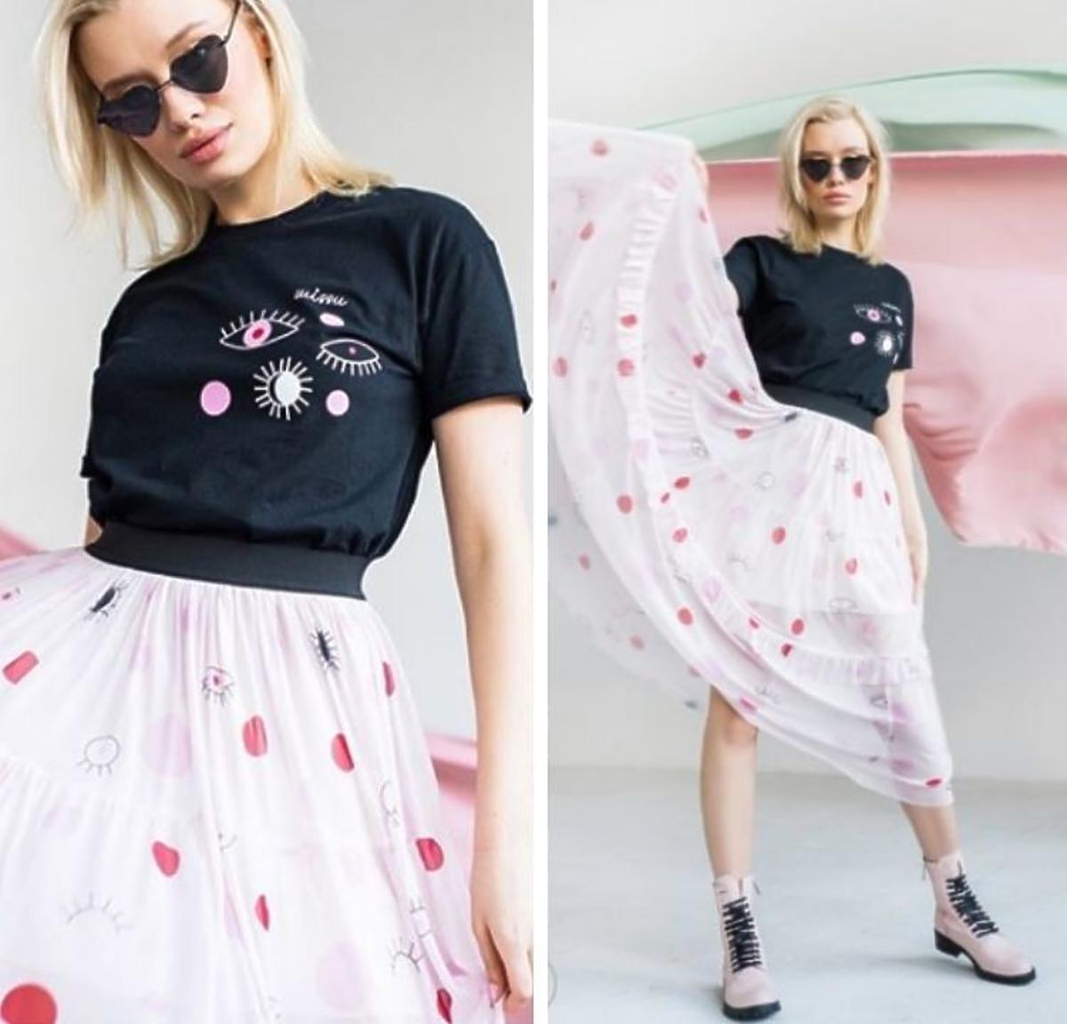 Tiulowa spódnica Tiara z nadrukiem oka Missu Design