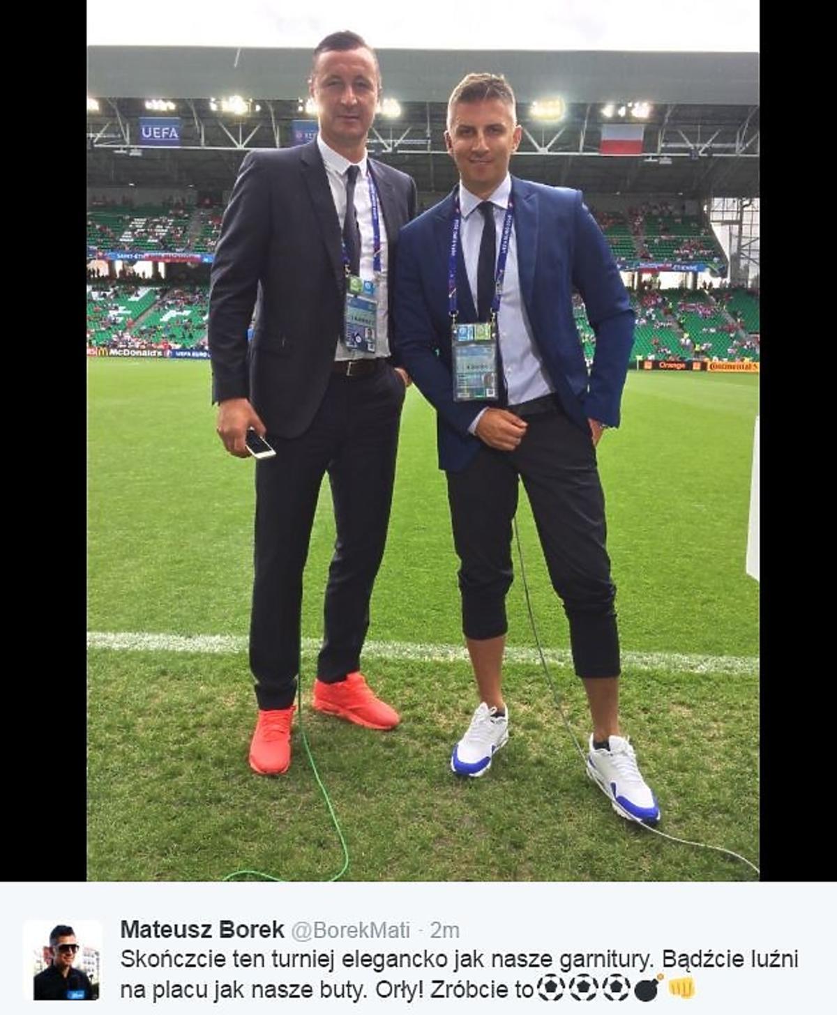 Tomasz Hajto i Mateusz Borek komentatorzy meczu Polska - Szwajcaria