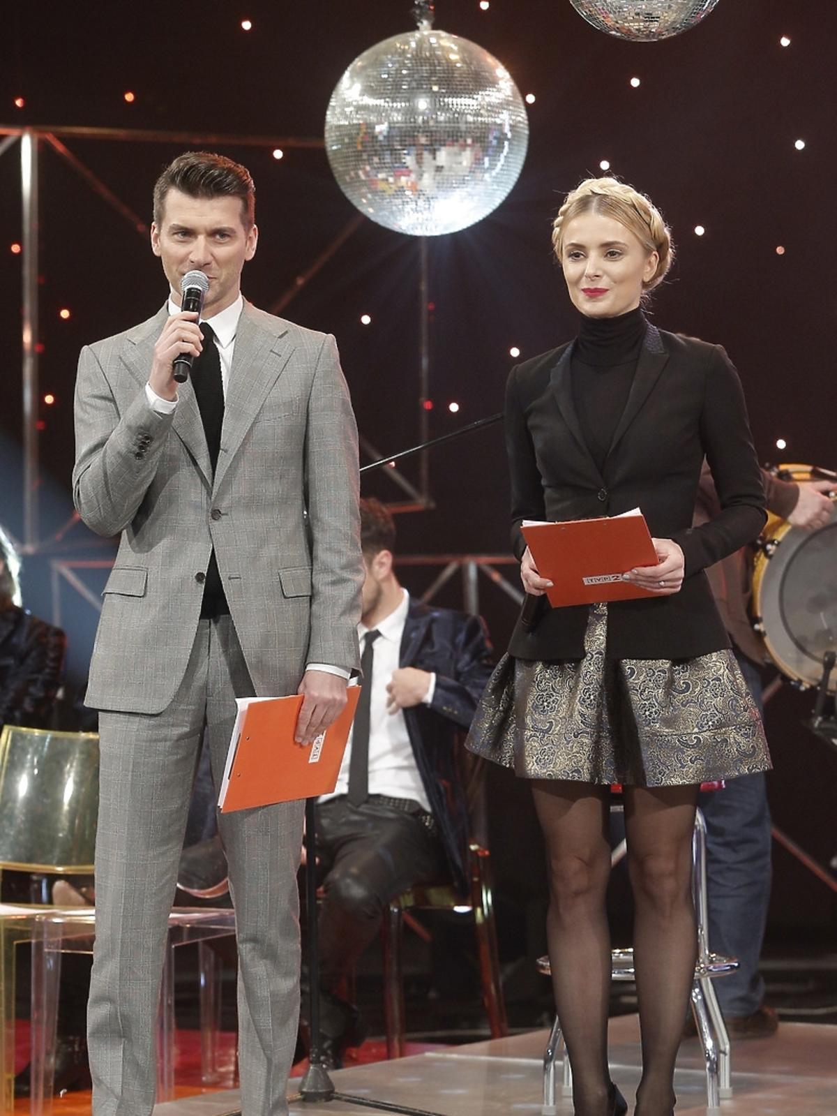 Tomasz Kammel i Halina Mlynkova na konferencji Sylwester z Dwójką we Wrocławiu 2014/2015