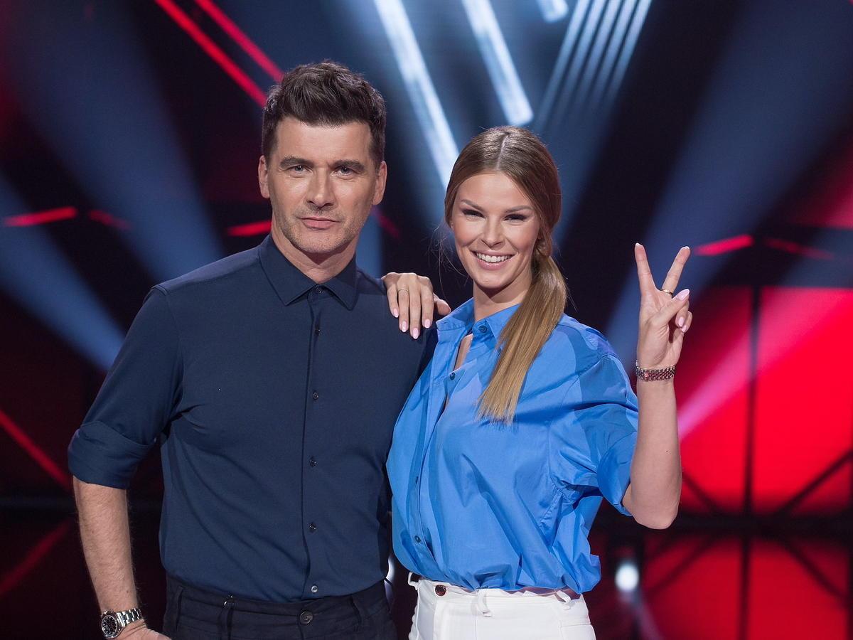 """Tomasz Kammel i Małgorzata Tomaszewska na planie """"The Voice of Poland"""""""