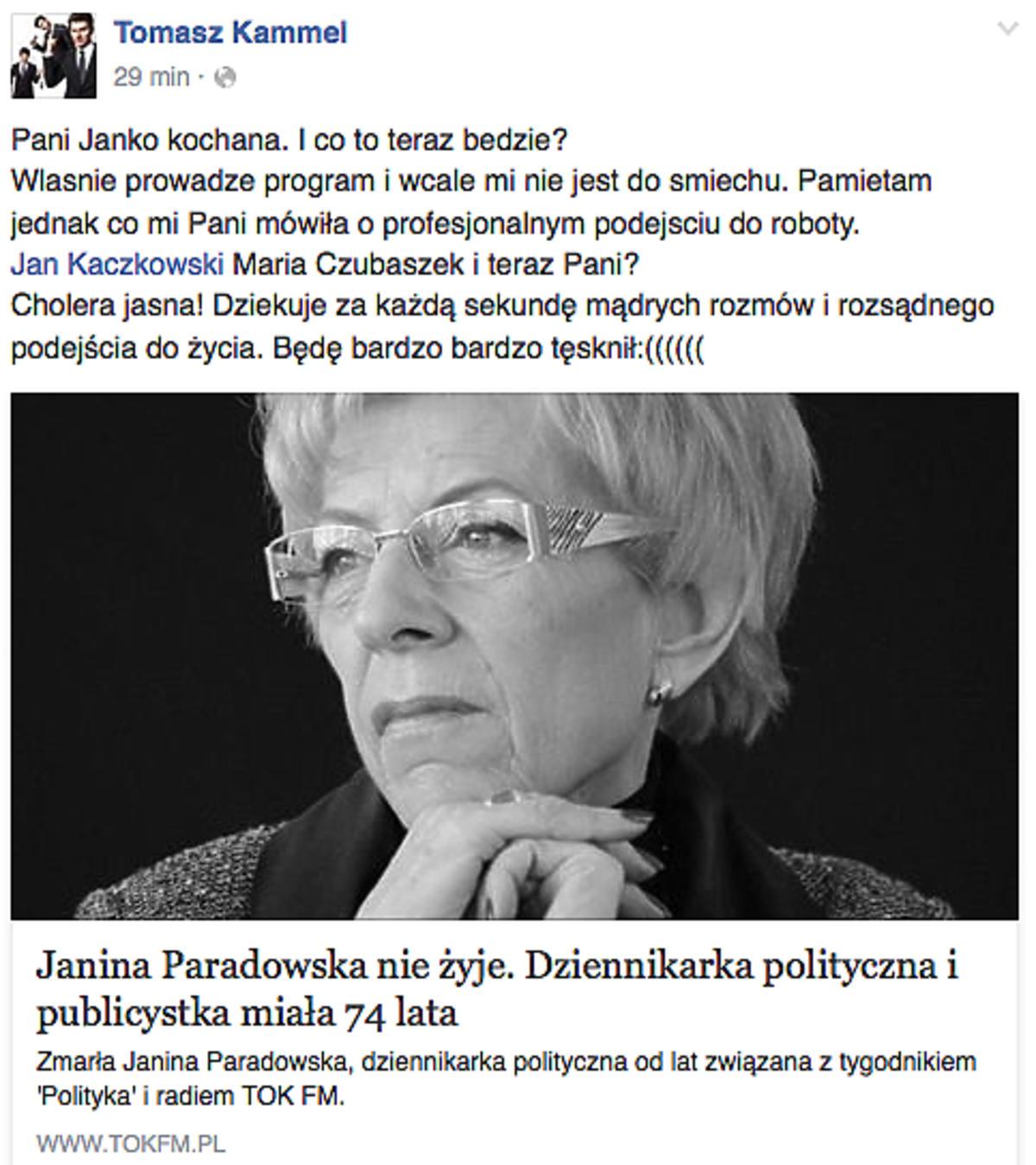 Tomasz Kammel pożegnał Janinę Paradowską