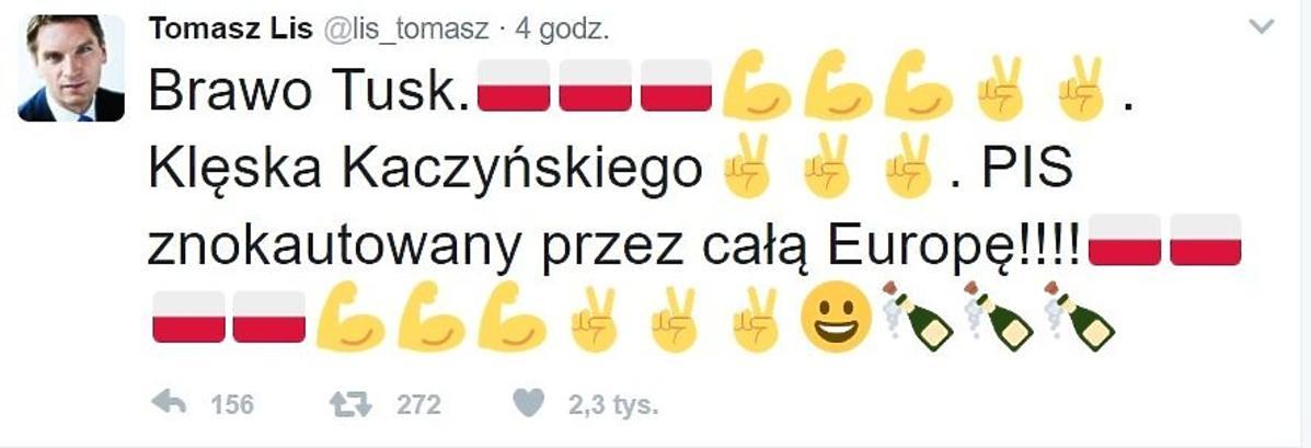 Tomasz Lis komentuje wygraną Donalda Tuska
