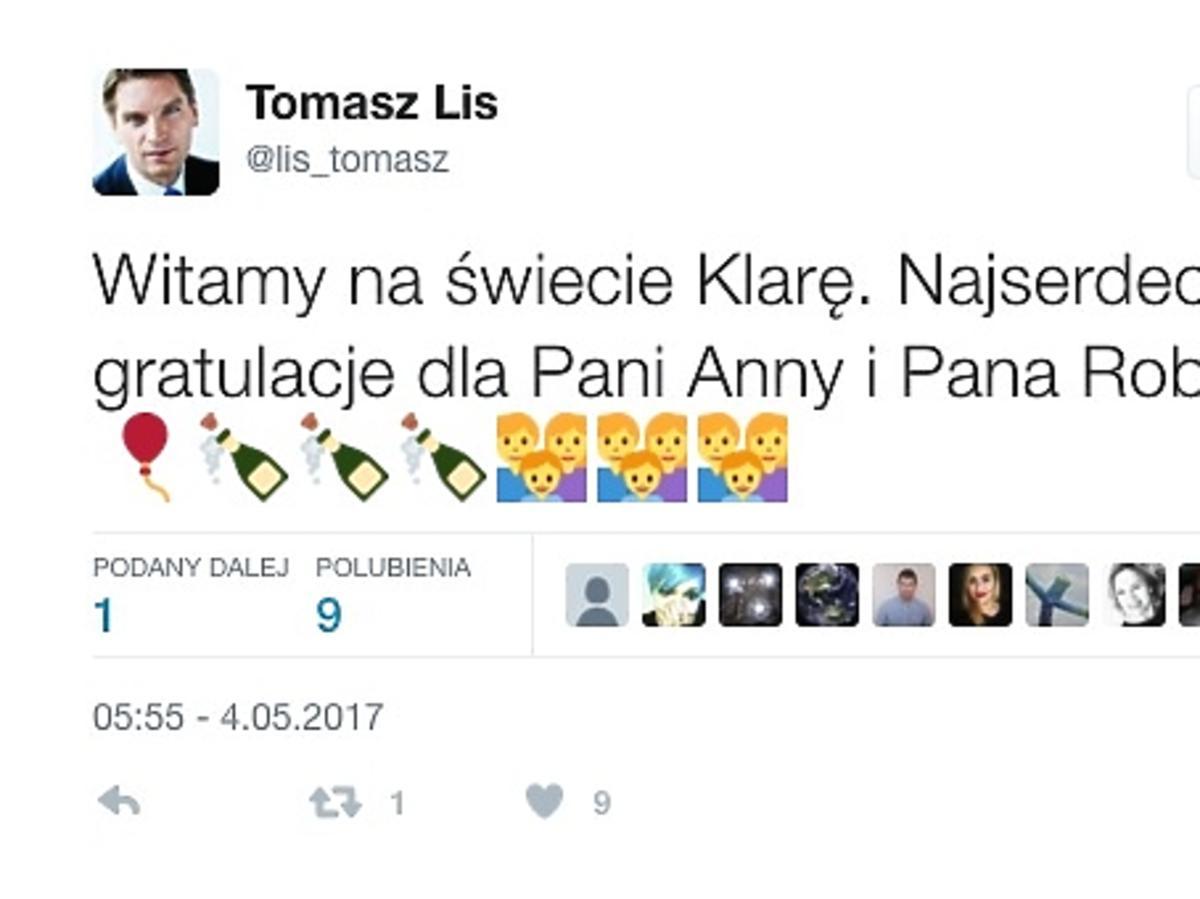 Tomasz Lis pogratulował Lewandowskim