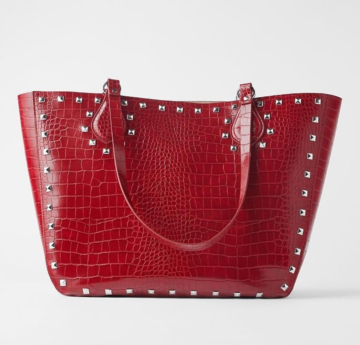 Torba czerwony shopper Zara wyprzedaż