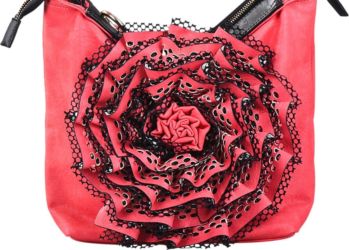 Torebka czerwona z kwiatkiem w czarne kropki