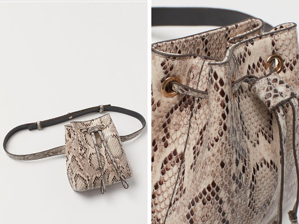 torebka worek w wężowy wzór na pasku z H&M