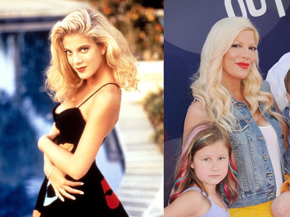 Tori Spelling kadr z serialu beverly hills 90210 w czarnej sukience na dworzu oraz z dziećmi obecnie