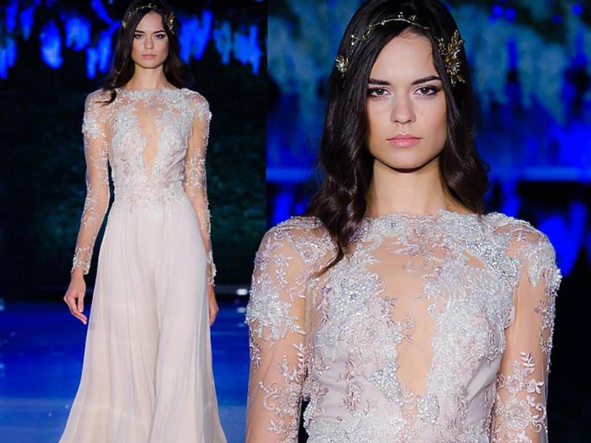 Transparentna suknia ślubna