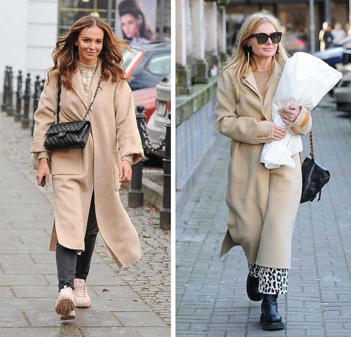 Trend sezonu 2020 Ania Wędzikowska i Monika Olejnik w beżowych płaszczach