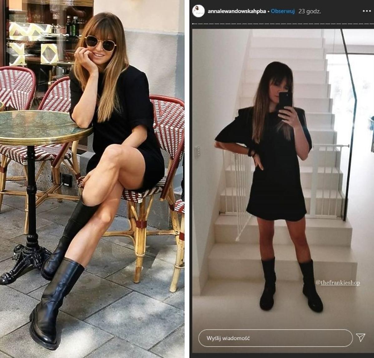Trendy jesień 2020  Anna Lewandowska w czarnej sukience i ciężkich botkach