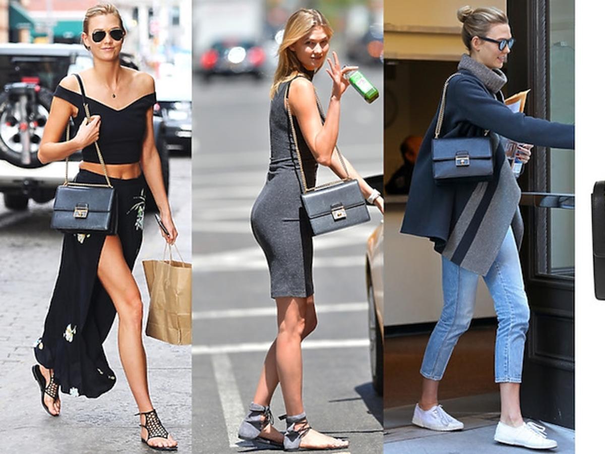 Trzy uliczne stylizacje supermodelki Karlie Kloss i torebka od Dolce&Gabbana