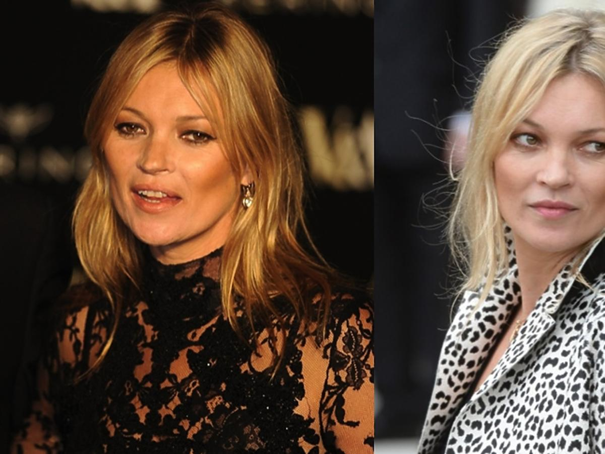 Twarz Kate Moss - ze zmarszczkami i bez