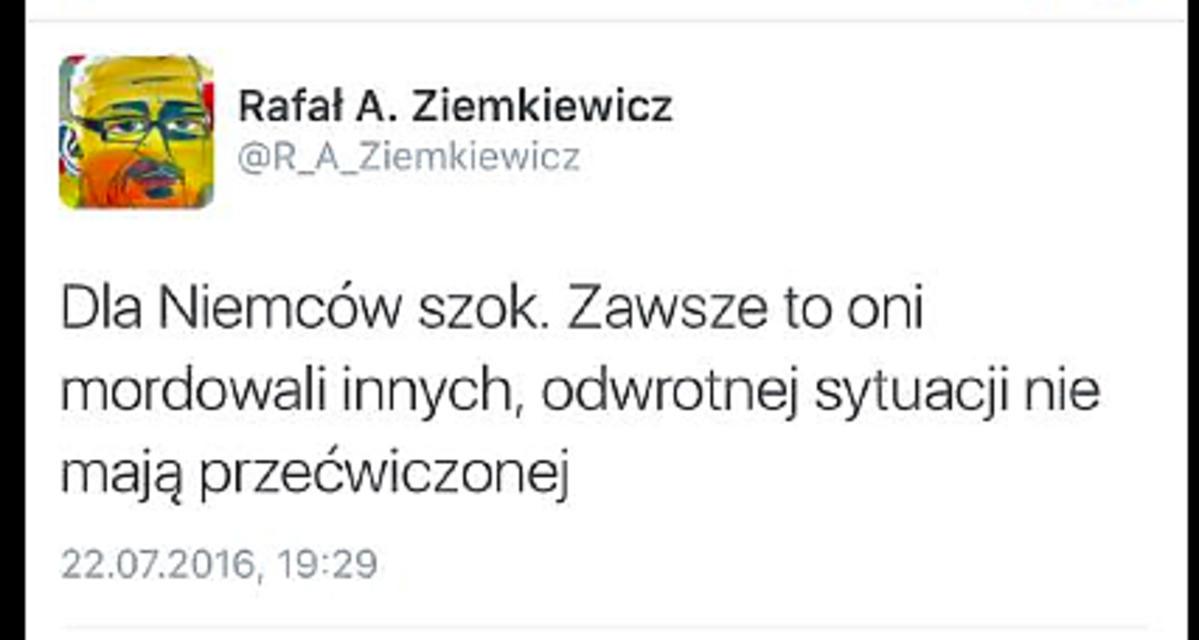 Tweet Rafała Ziemkiewicza