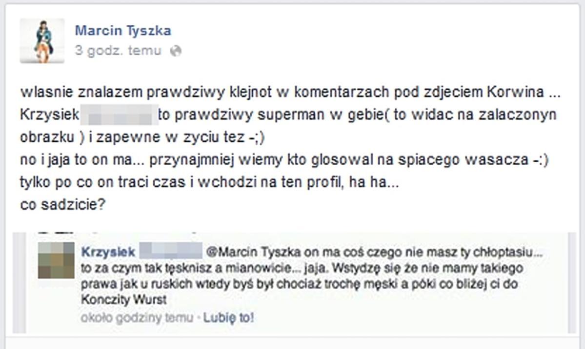 Tyszka kłóci się z fanem na Facebooku