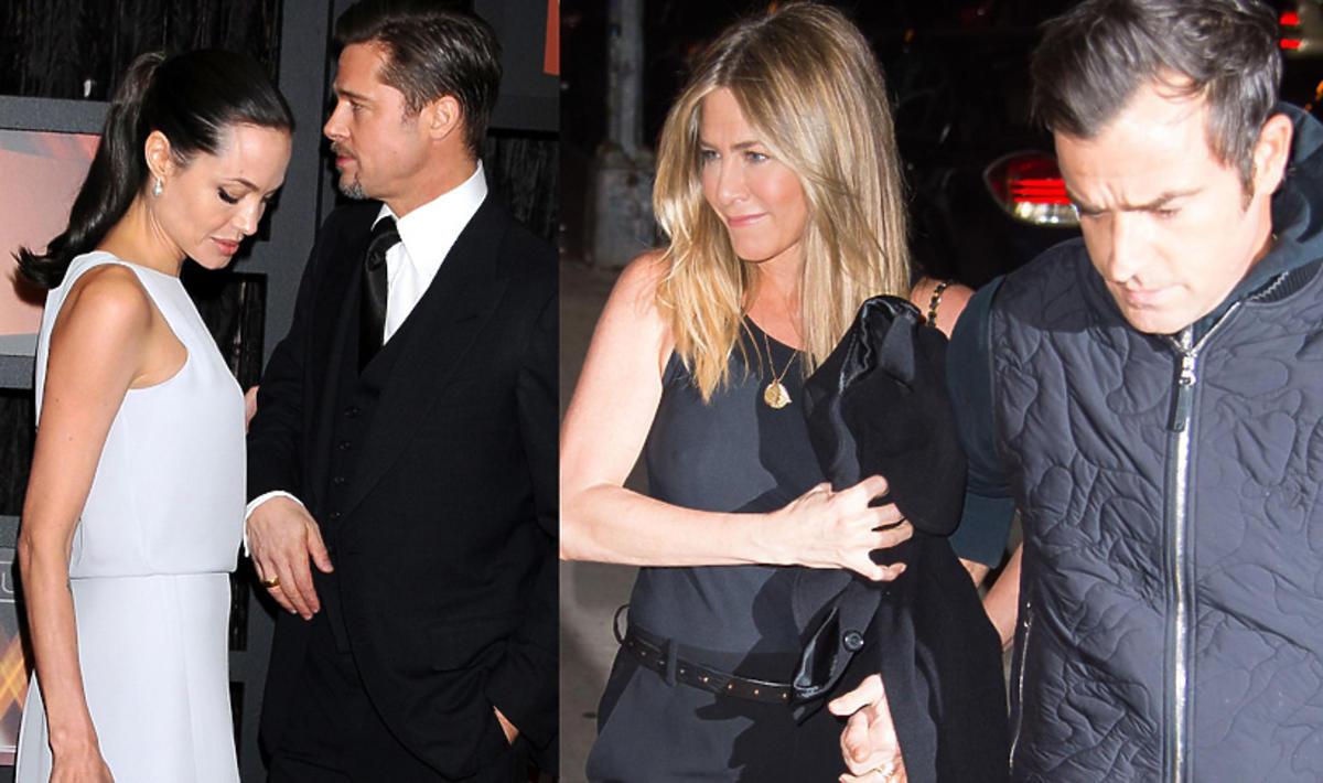 Uśmiechnięta Jennifer Aniston z mężem