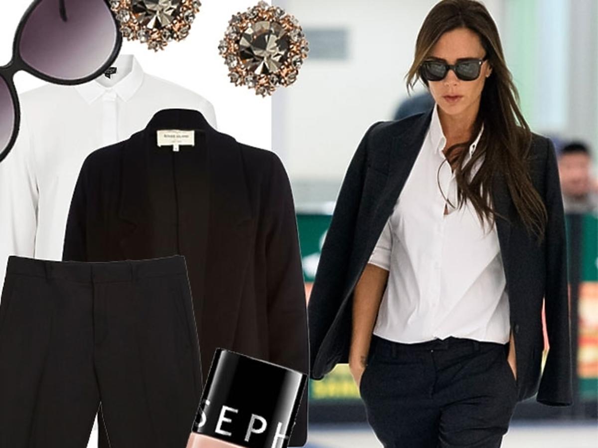 Victoria Beckham w czarnym garniturze