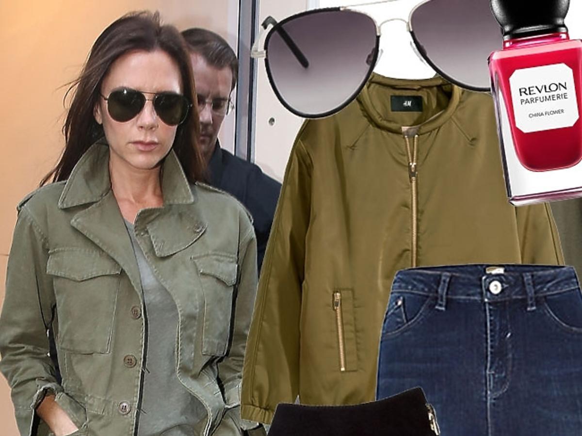 Victoria Beckham w kurtce khaki