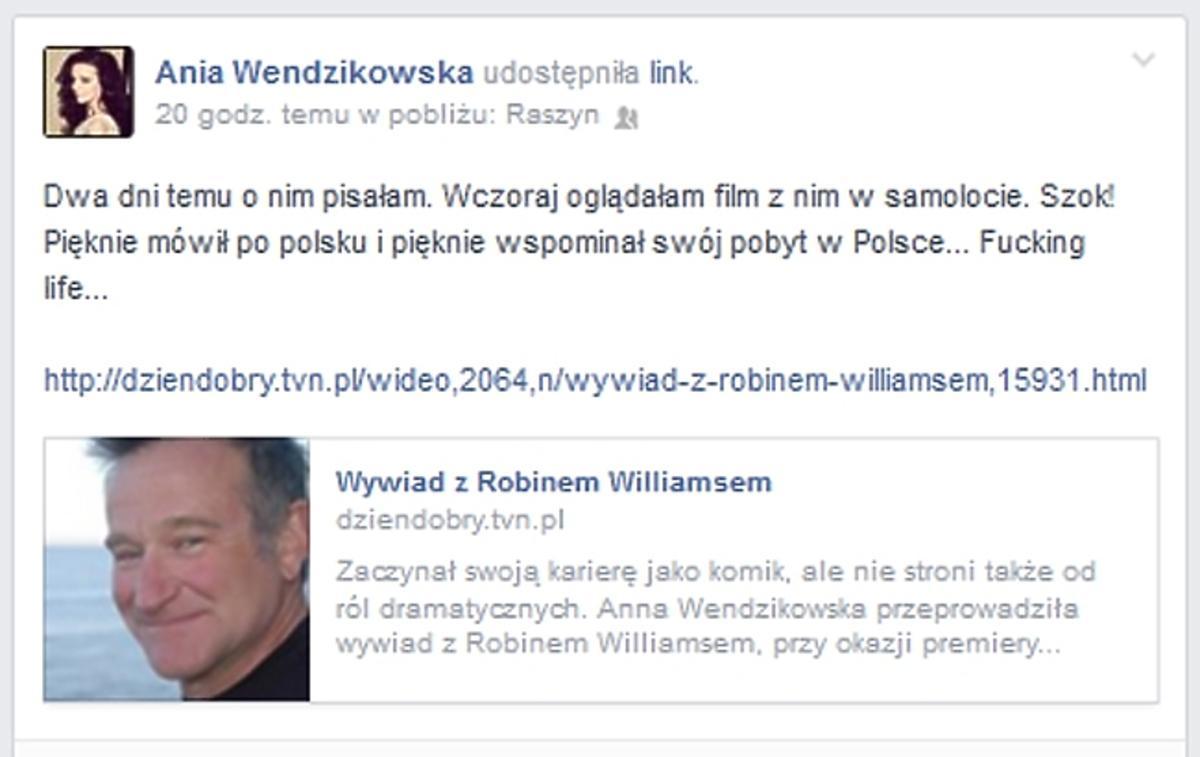Wendzikowska wspomina wywiad z Robinem Williamsem