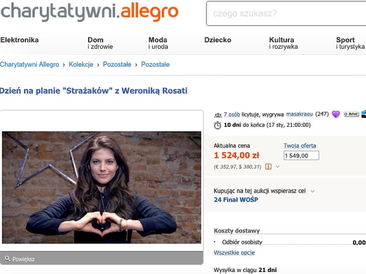 Weronika Rosati na Allegro wspiera WOŚP