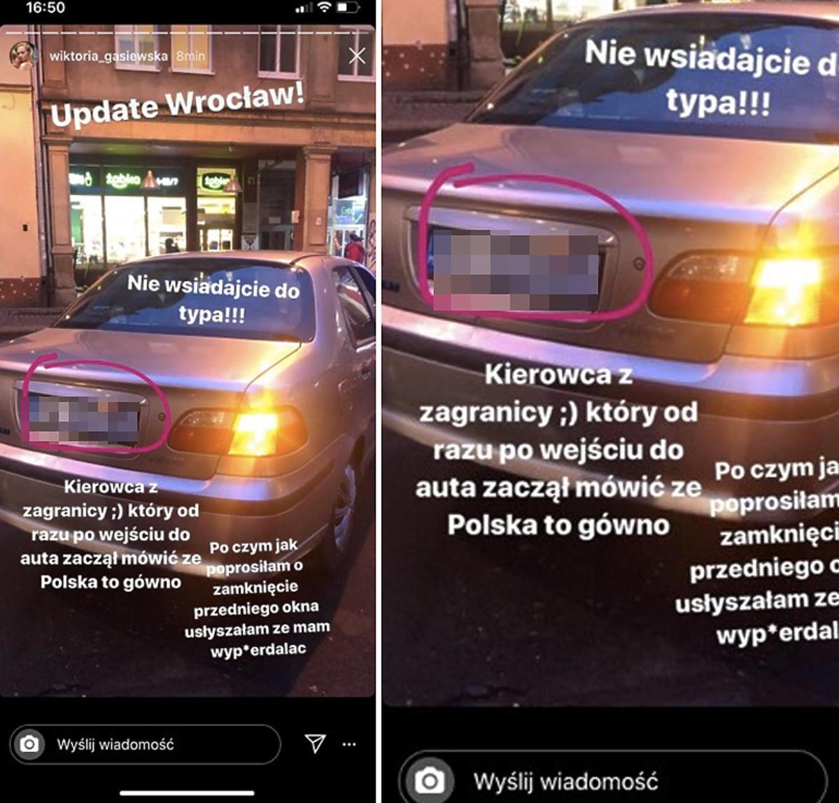 Wiktoria Gąsiewska ostrzega przed taksówkarzem