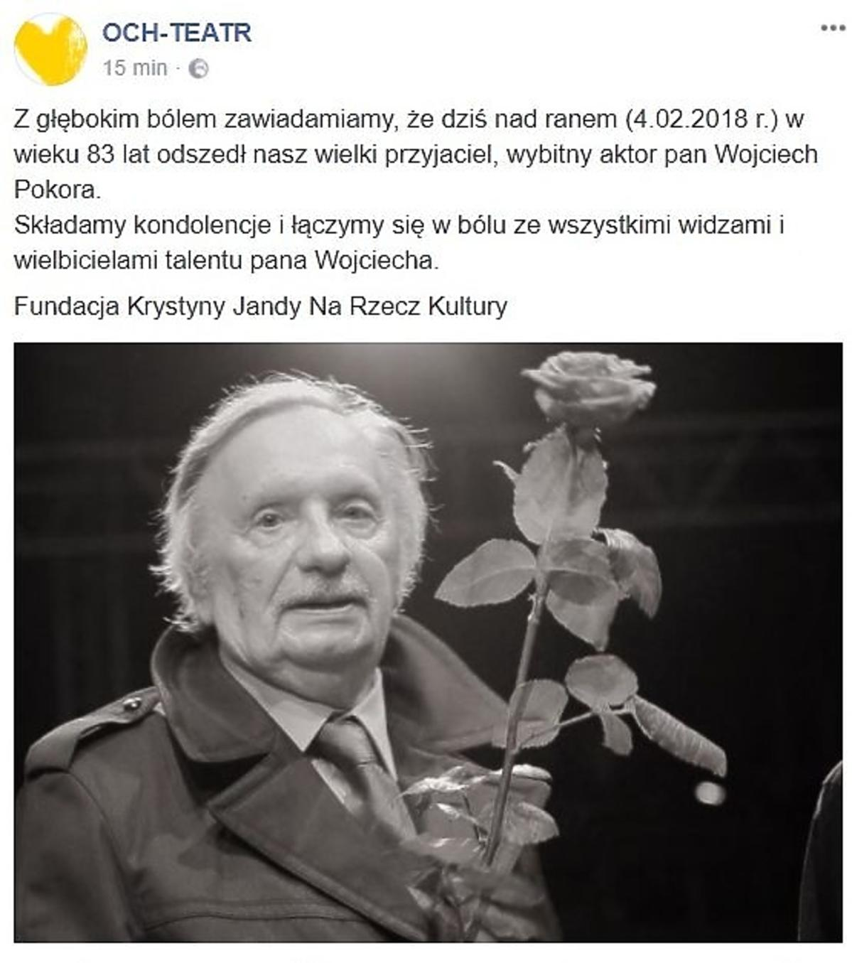 Wojciech Pokora nie żyje